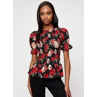 Women's Large Red And Pink Rose Shirred Body Top - 8