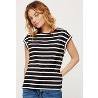 Women's Petite Navy Stripe Roll Sleeve Tee - mono - 16