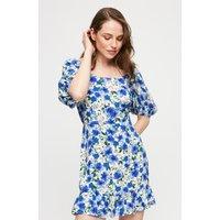 Blue Floral Tie Front Mini Dress