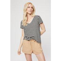 Women's White Stripe V Neck Relaxed T-shirt - L