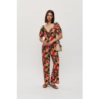 Women's Floral Tie Front Jumpsuit - black - 16