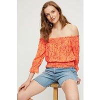 Women's Coral Orange Leaf Shirred Bardot Top - 18