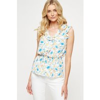 Women's Ivory Floral Frill Sleeveless Top - 14