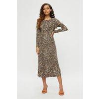 Petite Leopard Print Empire Seam Midi Dress