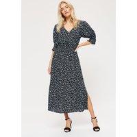 Blue Ditsy Shirred Waist Midi Dress