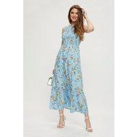 Tall Blue Floral Halterneck Midaxi Dress