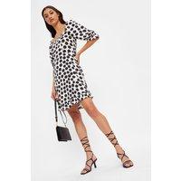 Tall Large Spot Sweetheart Frill Mini Dress