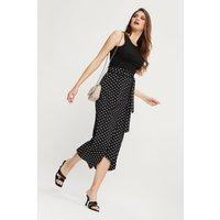Tall Black Spot Asym Wrap Midi Skirt