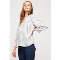 Women's Pink Multi Stripe Long Sleeve Overhead Shirt - 8