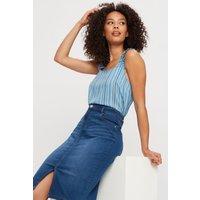 Blue Stripe Ruched Strap Cami