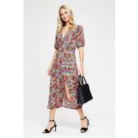 Bright Floral Cross Over Split Midi Dress