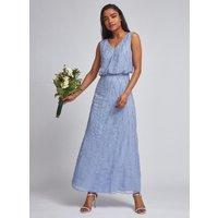 Women's Petite Blue Bridesmaid Morgan Maxi Dress - 8