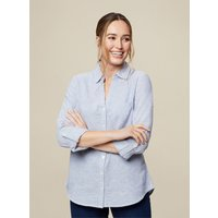 Women's Chambray Blue Linen Shirt - 22