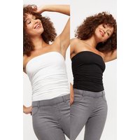 2 Pack Plain Black And White Bandeau Tops. Front Length Is Approximately 60Cm. 92% Cotton, 8% Elasta