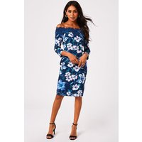Women's Paper Dolls Blue Floral Print Bardot Dress - 8