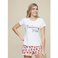 Women's Strawberry Shorts Pyjama Set - red - M
