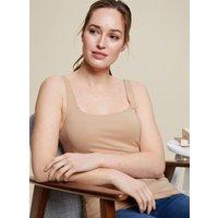 Beige Organic Cotton Vest. Wearing Length Is 57Cm. 94% Cotton Organic, 6% Elastane. Machine Washable