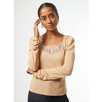 Petite Camel Lace Ribbed Top. Full Wearing Length 54.5Cm. 75% Polyester, 25% Viscose. Machine Washab