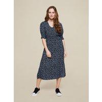 Women's Black Floral Print Shirred Midi Dress - 14