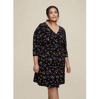 Black Curve 3/4 Sleeve Ditsy Print Wrap Dress. Wearing Length Is 104Cm. 93% Cotton, 7% Elastane. Mac