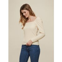 Camel Square Neck Ribbed Long Sleeve T-Shirt. Length Is 60Cm. 87% Polyester, 13% Elastane. Machine W