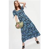 Blue Floral Square Neck Midaxi Dress