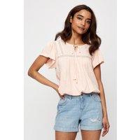 Petite Blush Shirred Hem Top