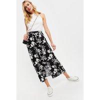 Tall Mono Silhouette Floral Midi Skirt