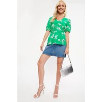 Green Ditsy Ruched Puff Sleeve Top