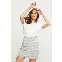 Grey Ivory Stripe Jersey Mini Skirt