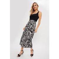 Women's Zebra Satin Knot Midi Skirt - black - 10