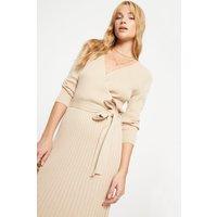 Sustainable Camel Rib Wrap Dress