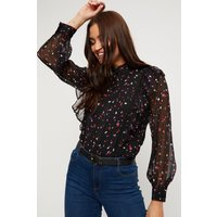Abstract Spot Print Ruffle Front Blouse
