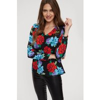 Tall Red Blue Floral Volume Sleeve Top