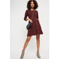 Red Spot Long Sleeve Tshirt Dress