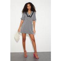 Faith Black Gingham Collar Mini Dress