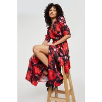 Large Red Floral Wrap Midi