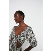 Linen Mix Zebra Puff Sleeve Tie Front Top