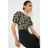 Printed Jersey Crepe Shirred Shoulder Top
