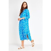 Blue Butterfly Shirt Dress