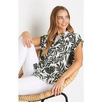 Sage Leaf Print Longline Shirt