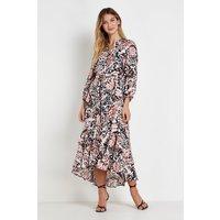 Blush Butterfly Layered Midi Shirt Dress