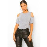 Womens Basic Cold Shoulder Curved Hem T-Shirt - grey - 16, Grey