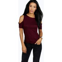 Cut Out Shoulder Tee - berry