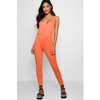 Basic Wrap Front Jumpsuit - orange