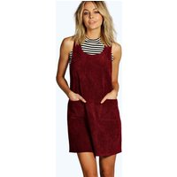 Cord Pinafore Dress - berry