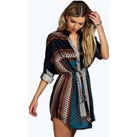 Paisley Print Shirt Dress - teal