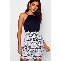 Boutique Lace Crochet Bodycon Dress - navy