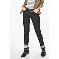 Longer Leg 34 Ripped Knee Skinny Jeans - black