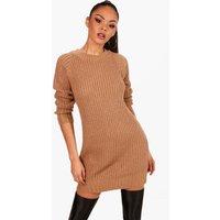 Womens Soft Knit Jumper Dress - beige - XS, Beige